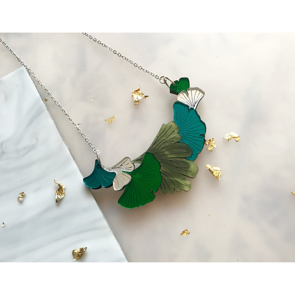 Green and Silver Ginko Necklace