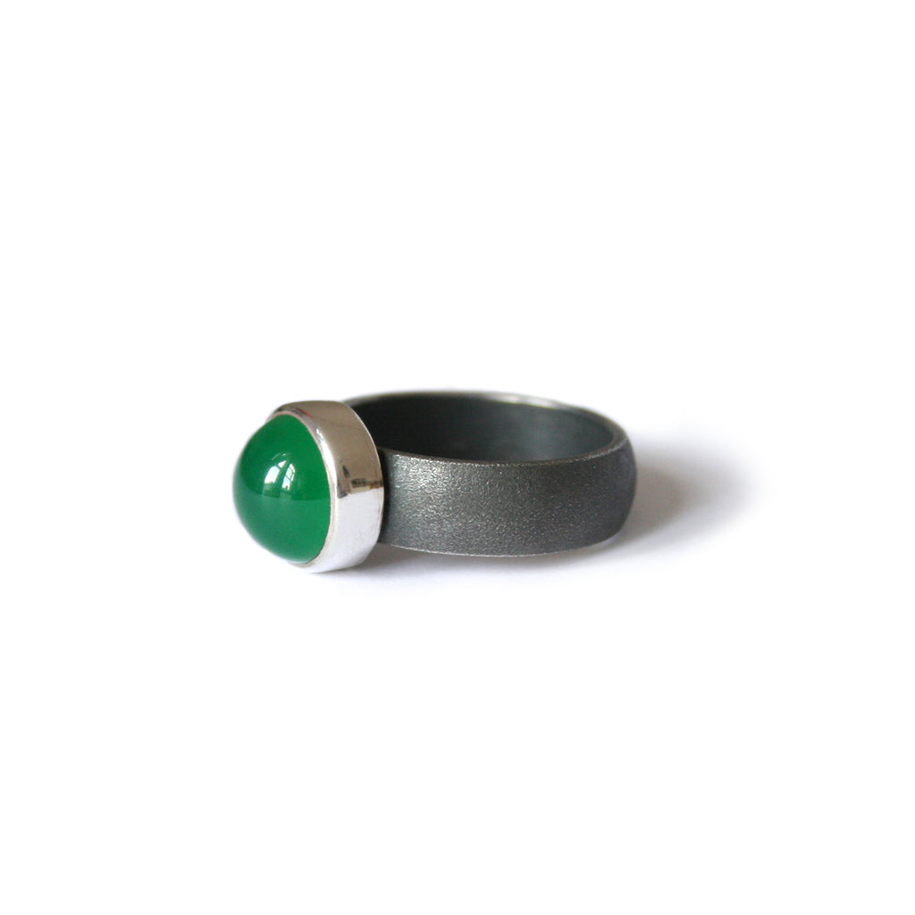 Green Agate and Oxidised Silver Ring