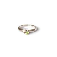 Butterfly & Green Peridot Silver Ring