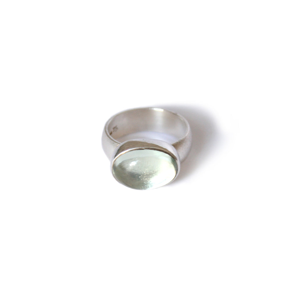 Pale Green Quartz & Silver Ring