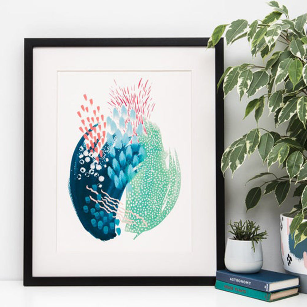 Abstract Green and Blue Watercolour Art Print
