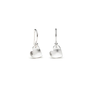 Silver Heart Drop Earrings, Small