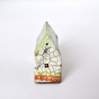 Mint, White and Orange Long Raku Fired Ceramic House