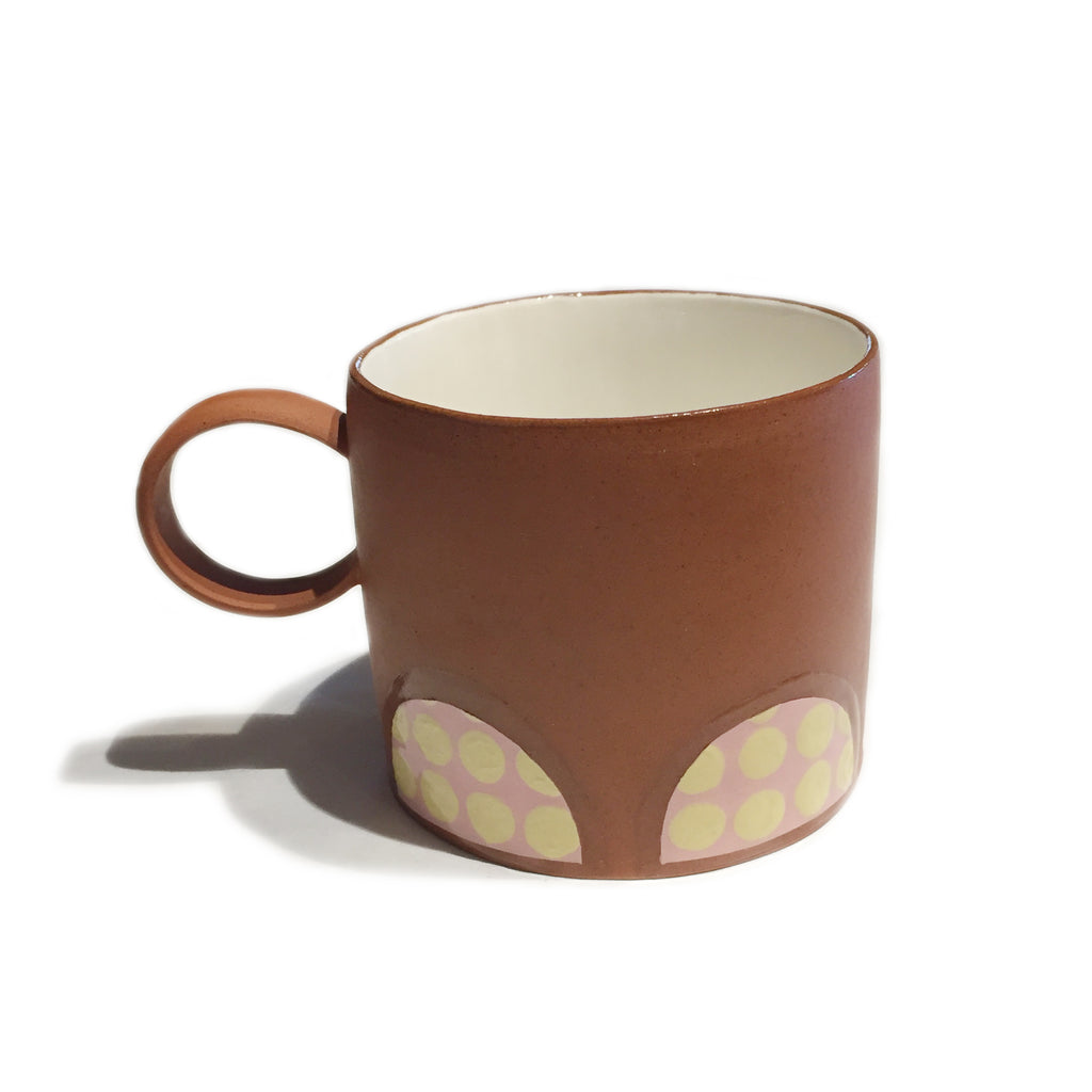 Pink and Yellow Spotted Terracotta Wide Mug