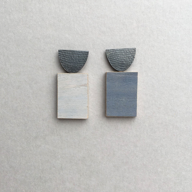 Irregular Silver and Wood Stud Earrings
