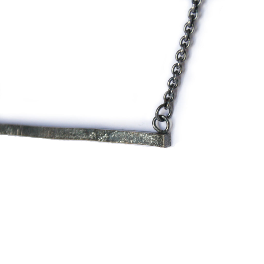 Oxidised Silver Bar Necklace