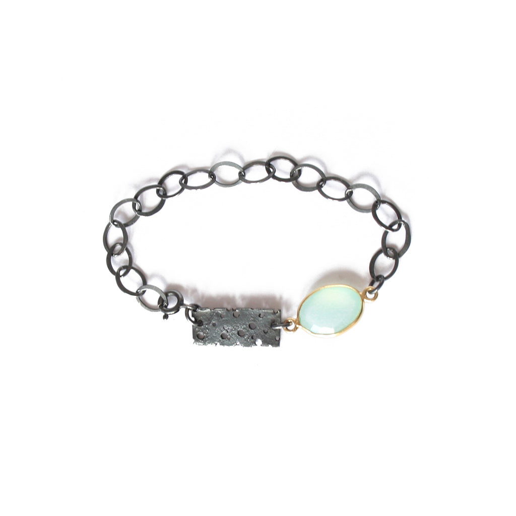 Oxidised Silver and Gold Erosion Bracelet with Blue Chalcedony