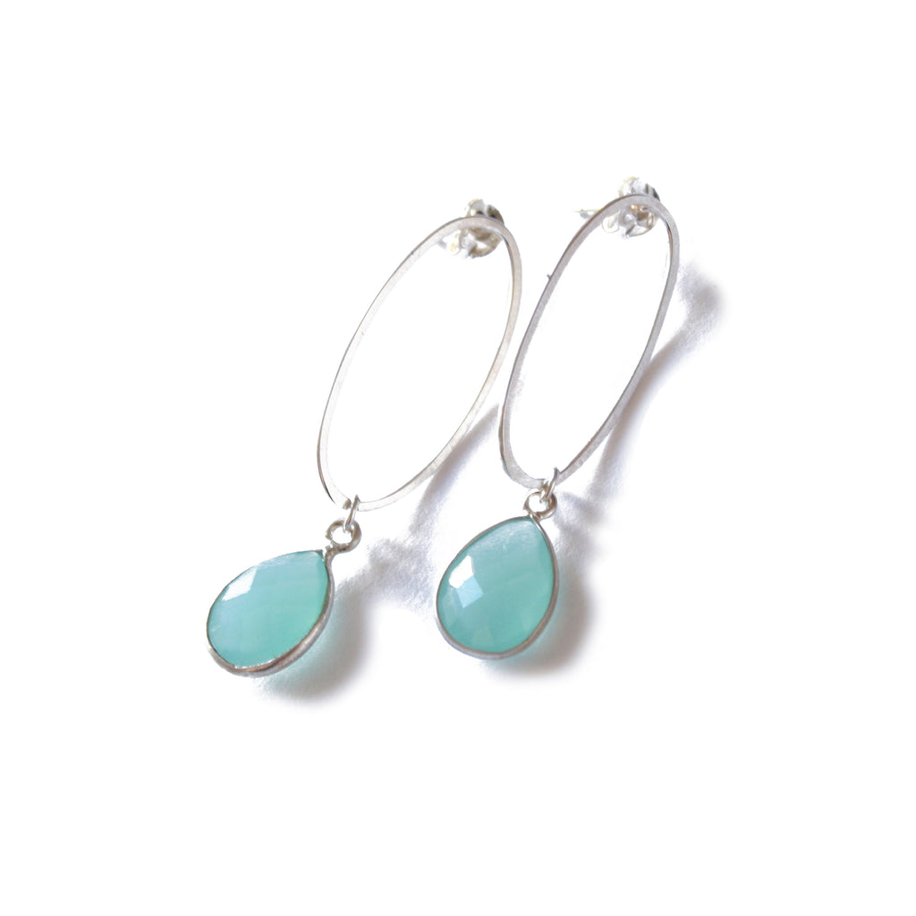 Oval Silver Stud Earrings with Blue Chalcedony