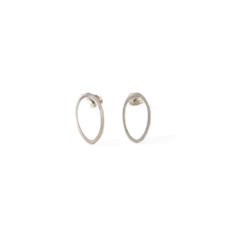 Small Silver Oval Hoop Studs