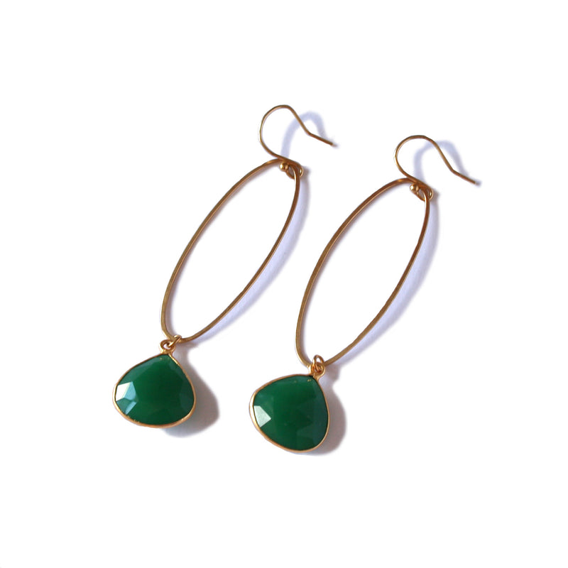 Large Oval Gold Earrings with Green Chalcedony