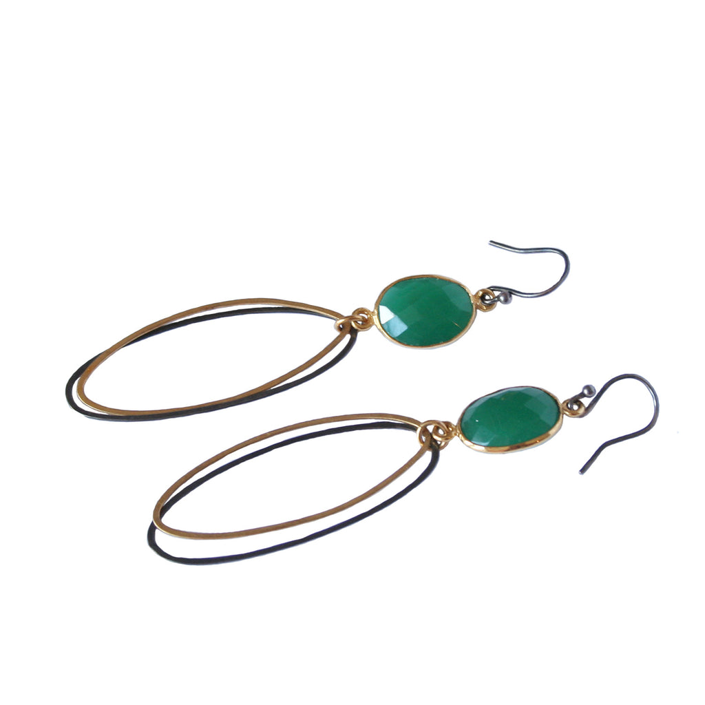 Double Oval Gold and Oxidised Earrings with Green Chalcedony