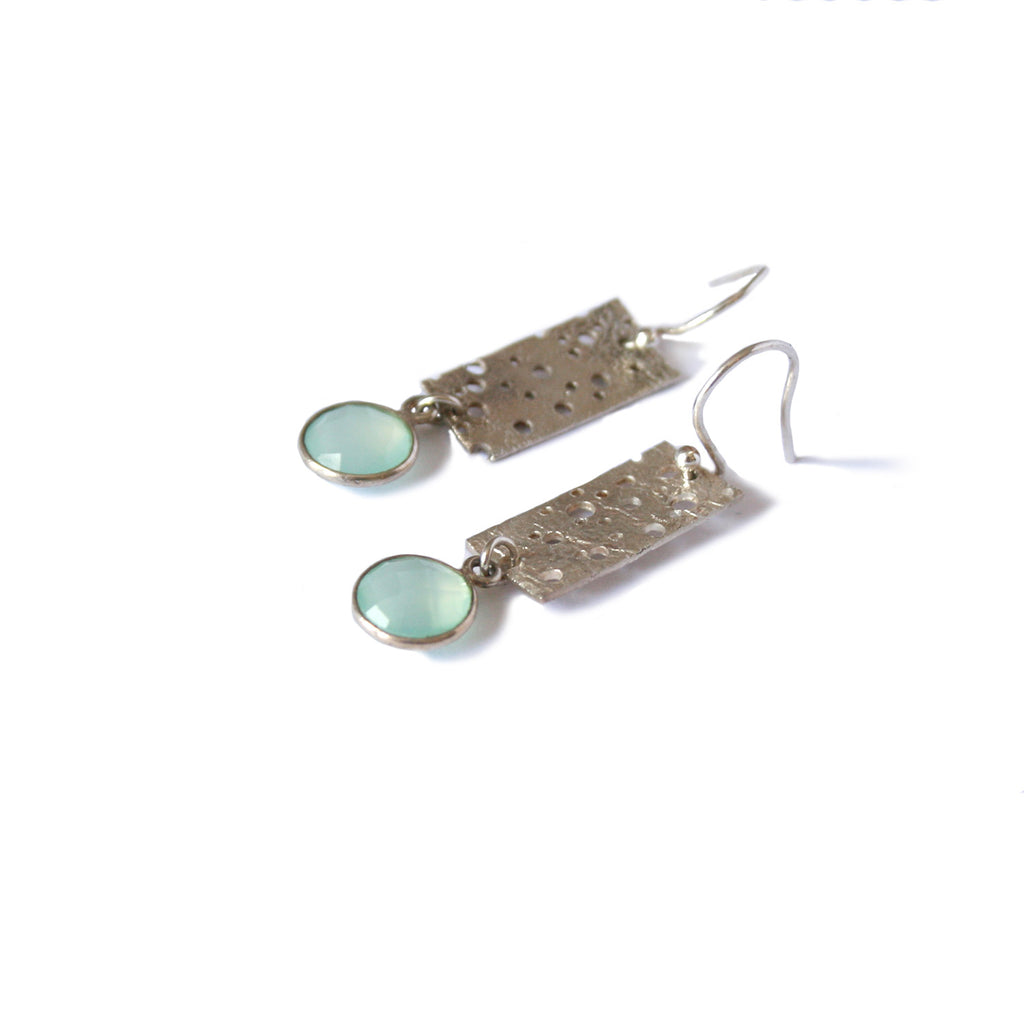 Small Sterling Silver Erosion Earrings with Blue Chalcedony