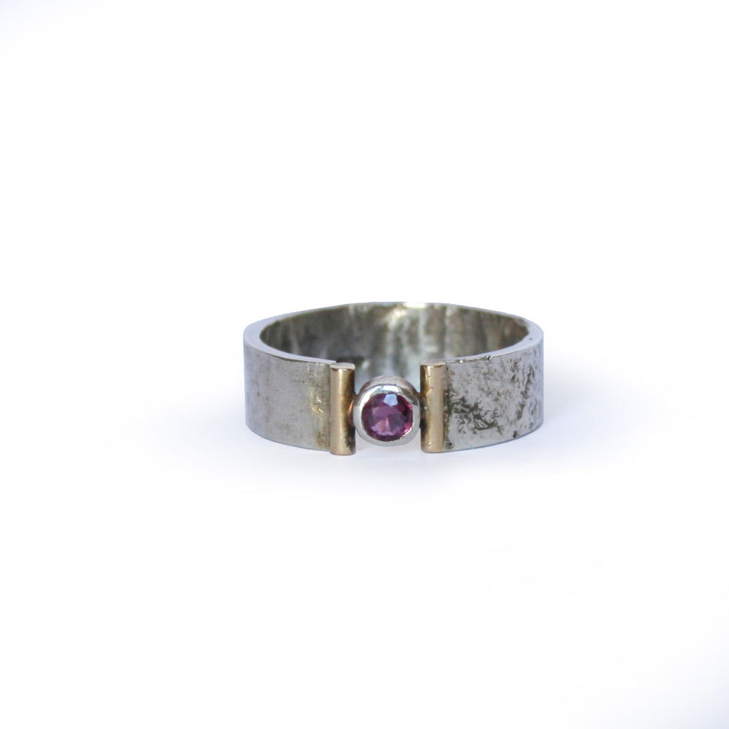 Silver Ring With Gold and Ruby
