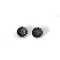 Oxidised Moon Studs Large