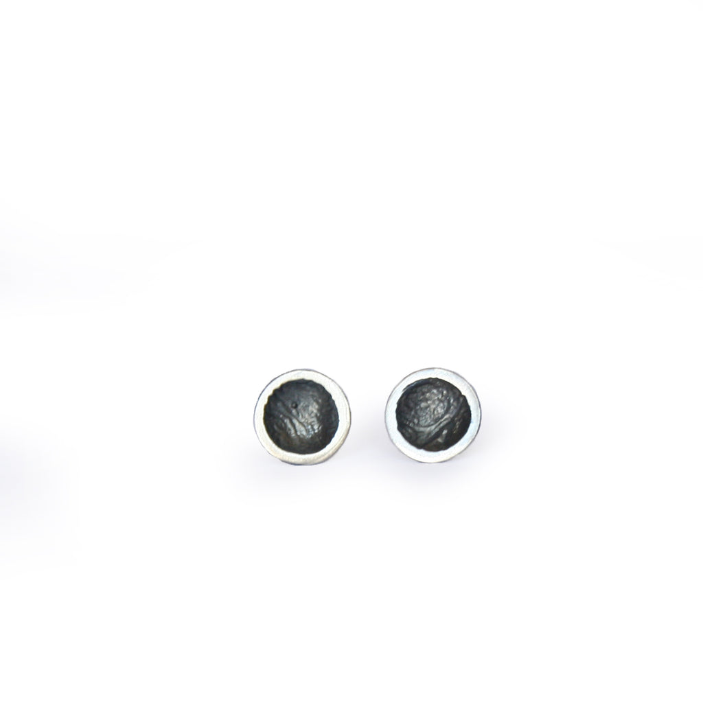 Oxidised Moon Studs Small