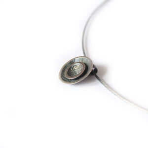 Double Moon Drop Pendant Oxidised Silver