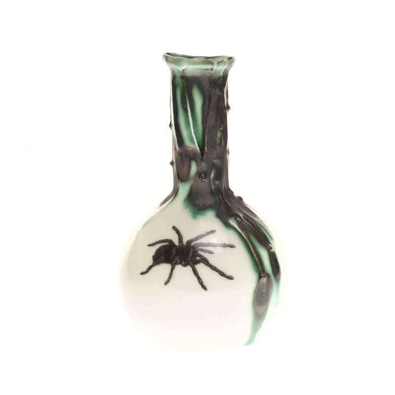Ball flask with tarantula illustration