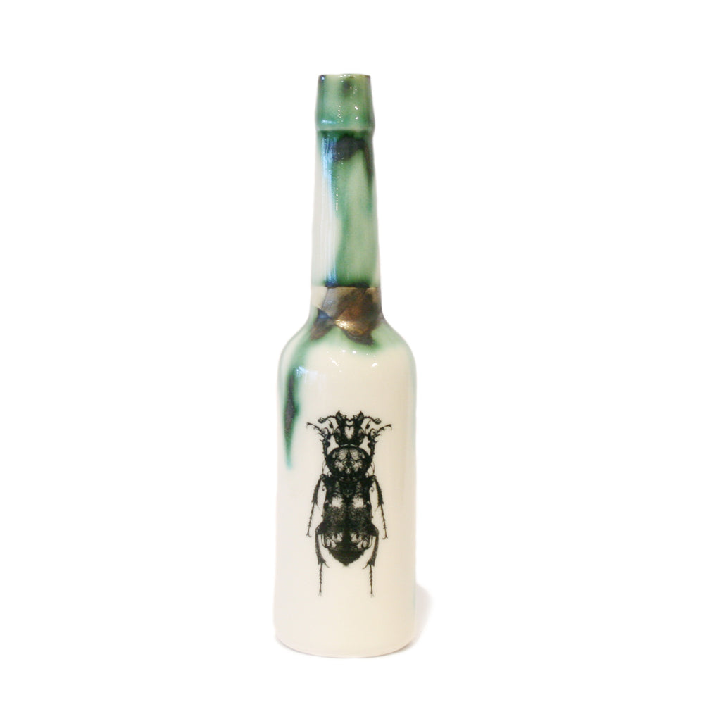 Beetle Illustrated Porcelain Water Bottle
