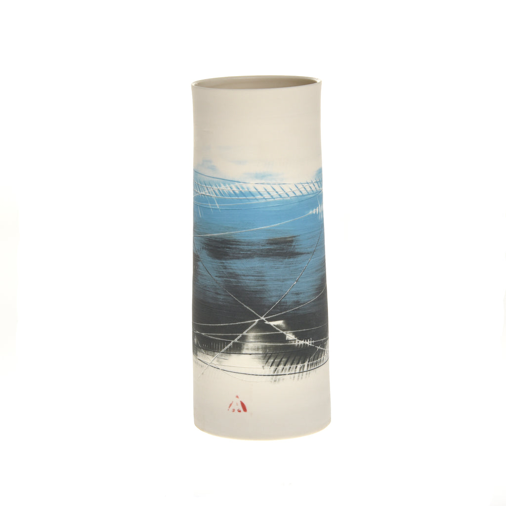 Two Tone Blue and Black Medium Porcelain Cylinder Vase