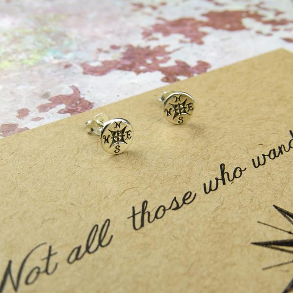 'Not All Who Wander....'  Compas Earrings