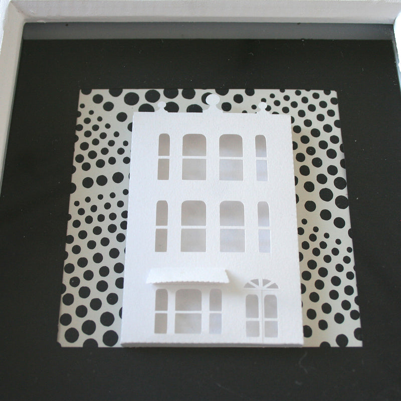 'Spots' A black and white art piece, made out of paper using Kirigami.