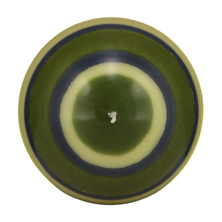 Large Striped Ball Candle in Olive, Indigo and Jasmine