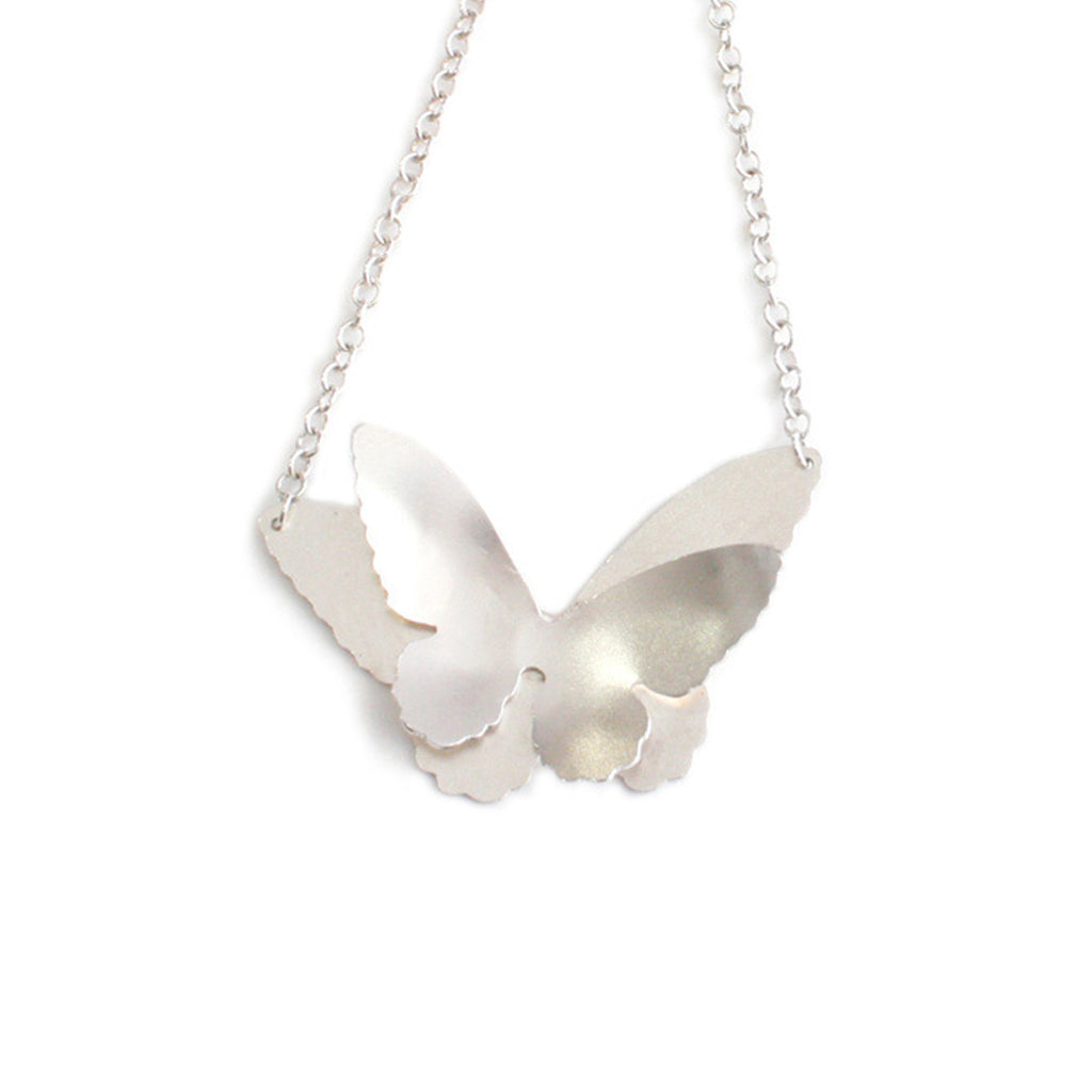 Silver Double Butterfly Necklace, Large