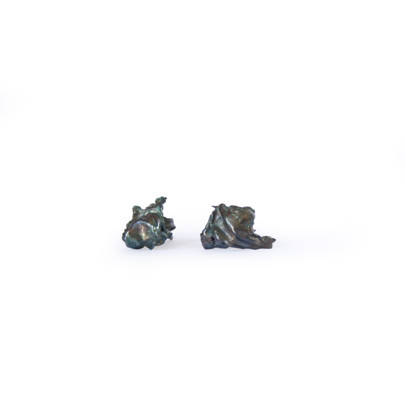 Oxidised Silver Cast Studs, Large