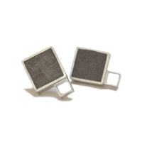 "Large Square ""Geometry"" Concrete & Silver Studs"