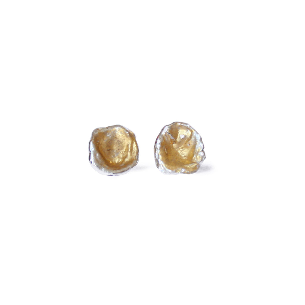Silver & Gold Leaf Cast Studs, Large