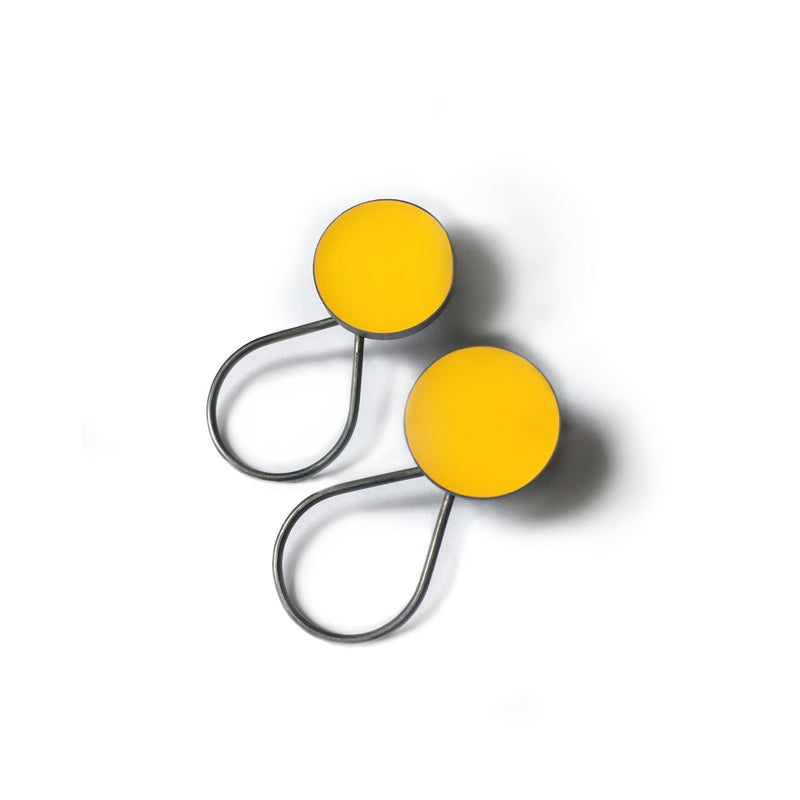Large Yellow Stud Earrings