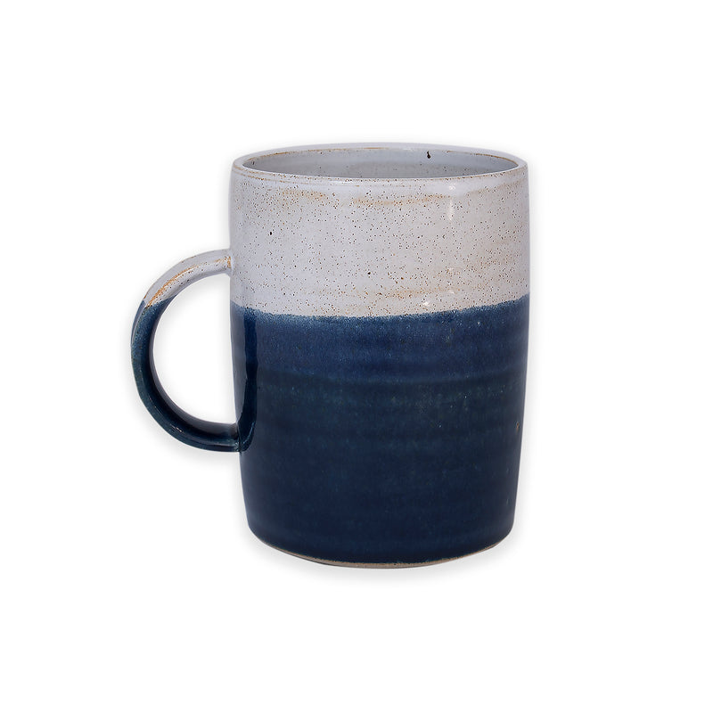 Tall Midnight Blue and White Dipped Mug