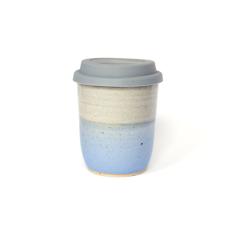Sea Dawn Blue and White Travel Mug