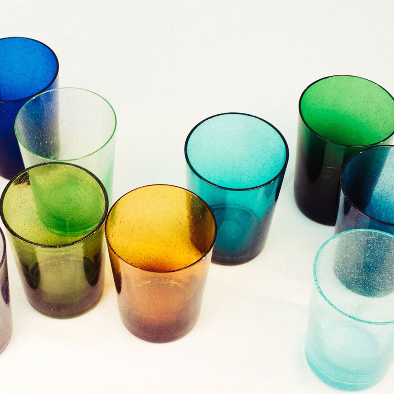 French Turquoise Handmade Glass Tumbler