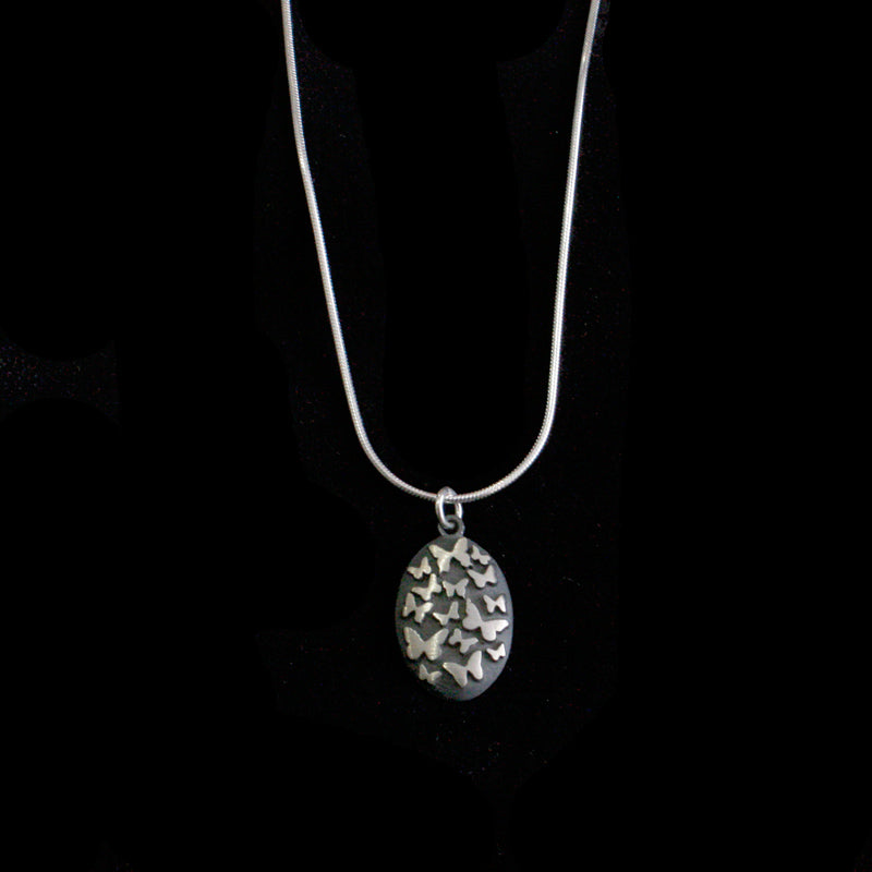 Silver & oxidised multi butterfly large necklace