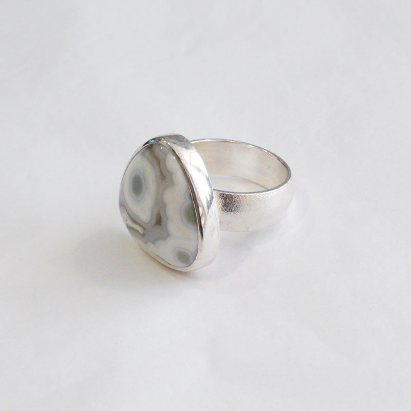 White Jasper Triangular Ring