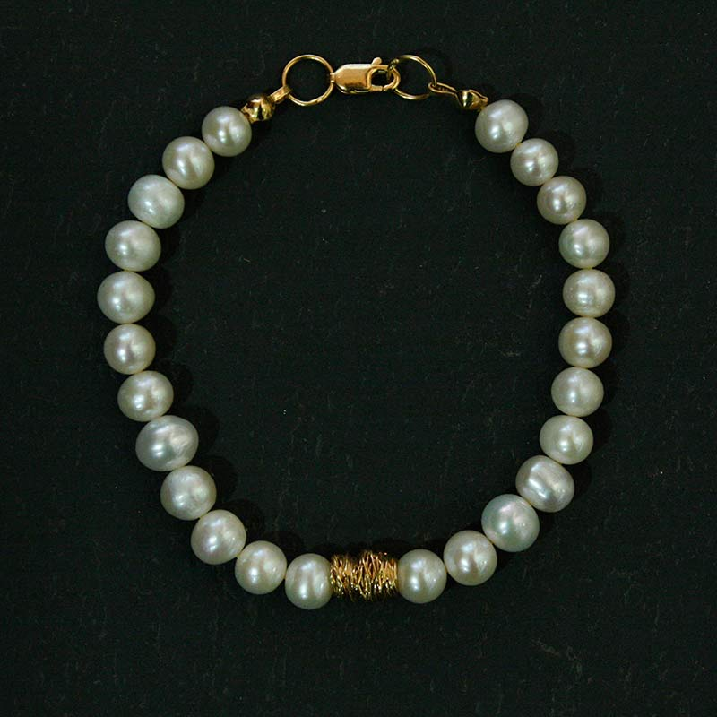 Freshwater Pearl and Gold Plate Wire Bracelet