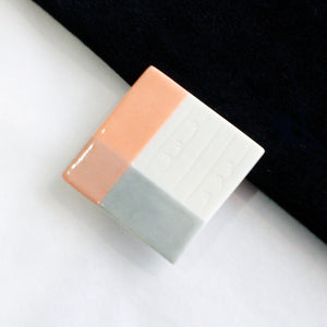 Square Coral Porcelain Brooch