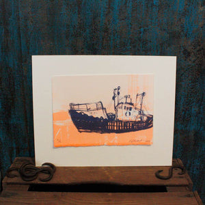 Fluoro Orange Boat Screen Print
