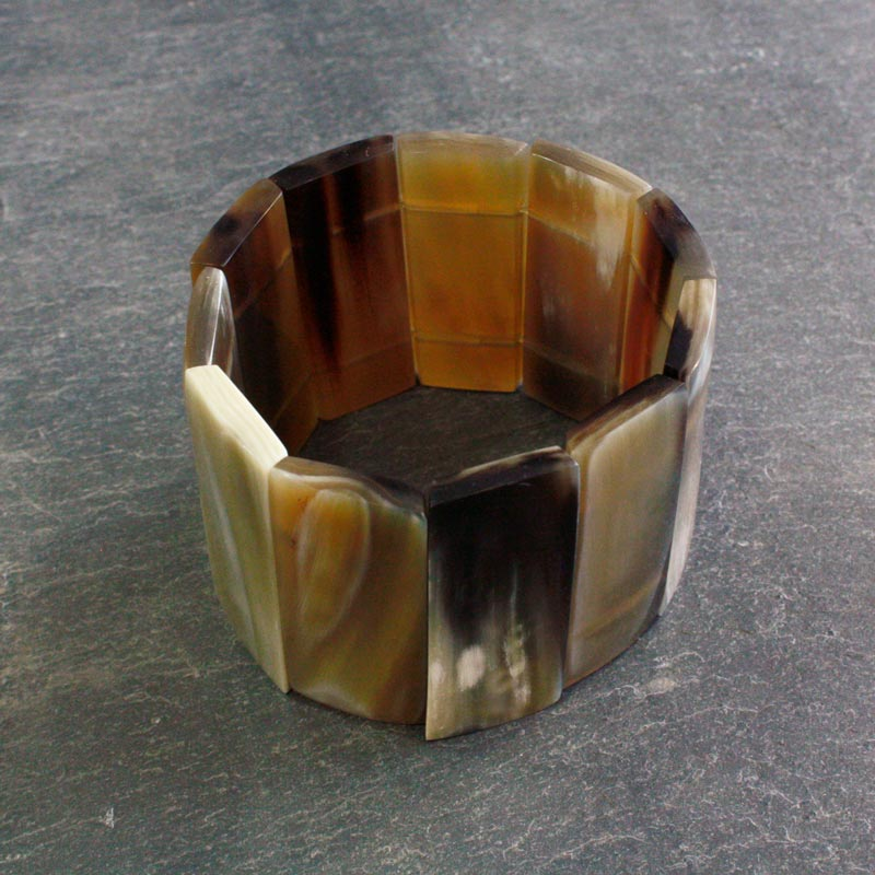 Horn Segments Elasticated Bangle