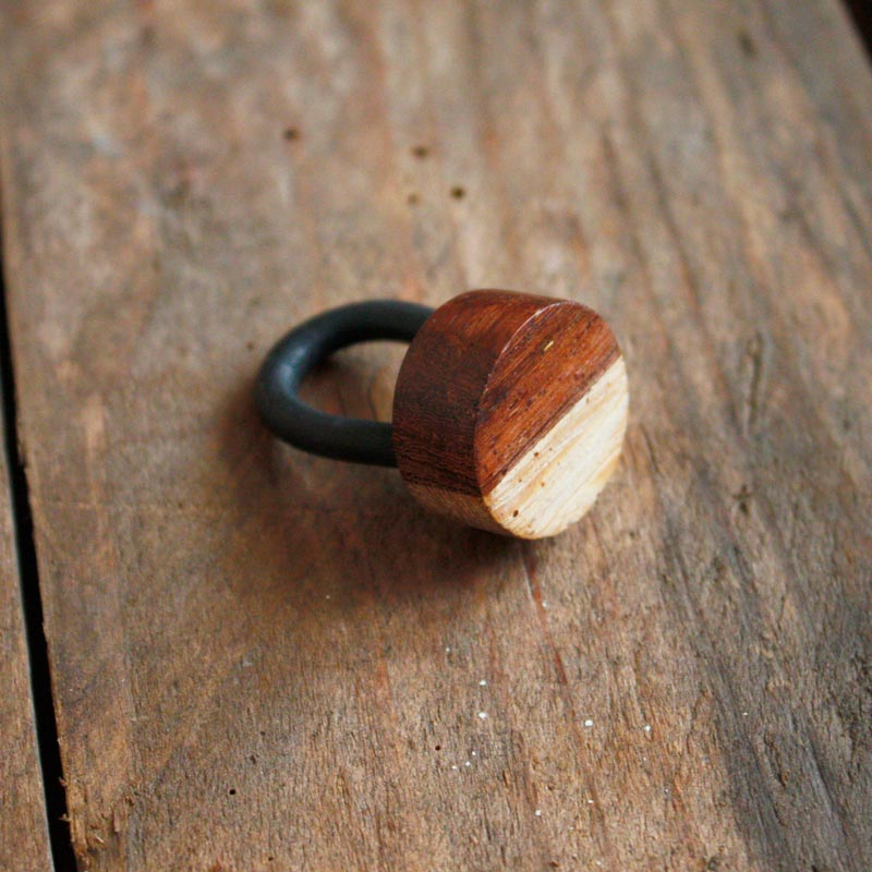 Two Tone Circular Wooden Ring