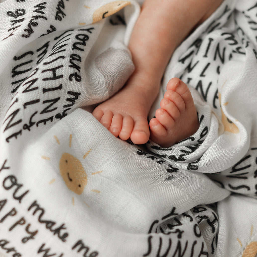 'You are my sunshine' 100% bamboo Baby muslin