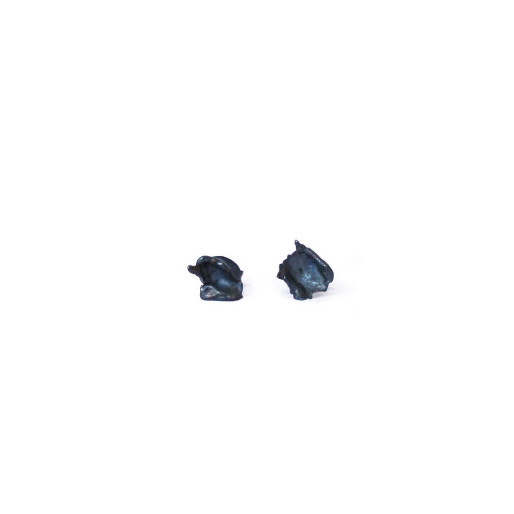 Oxidised Silver Cast Studs, Medium