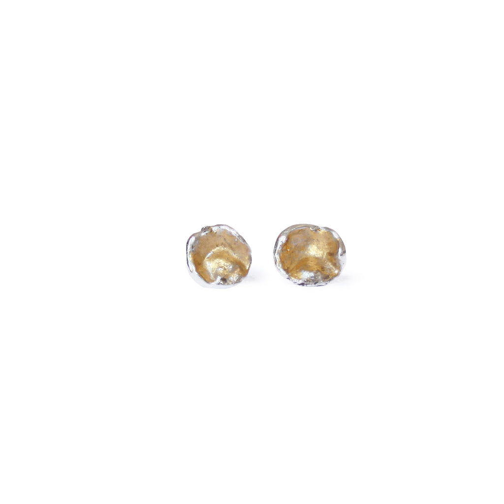Silver & Gold Leaf Cast Studs, Medium