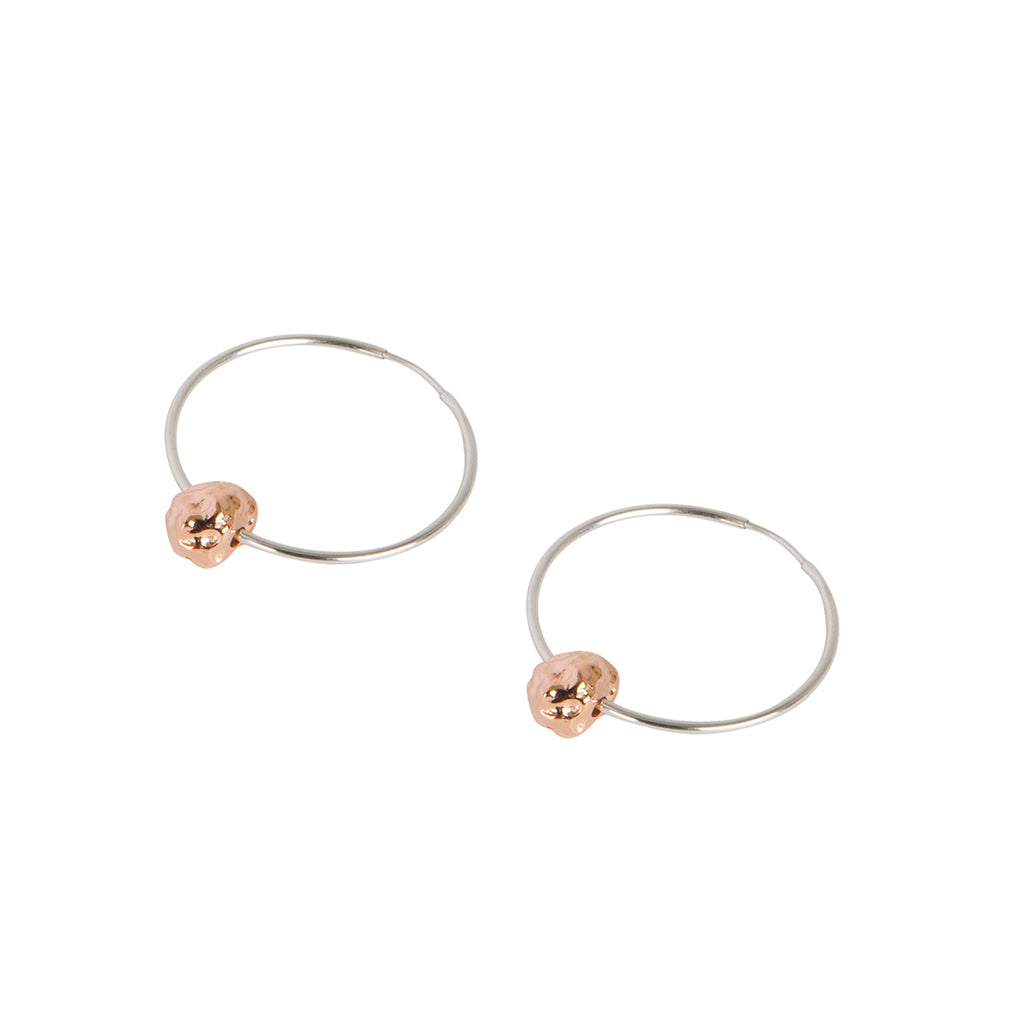 Rose Gold & Silver Meteorite Earrings