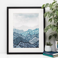 Blue Mountain Nova Watercolour Art Print