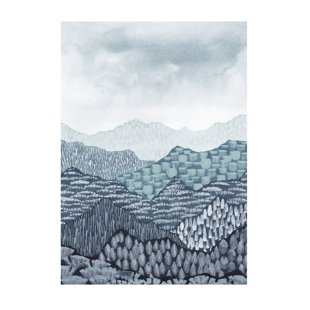 Abstract Mountain Watercolour Art Print