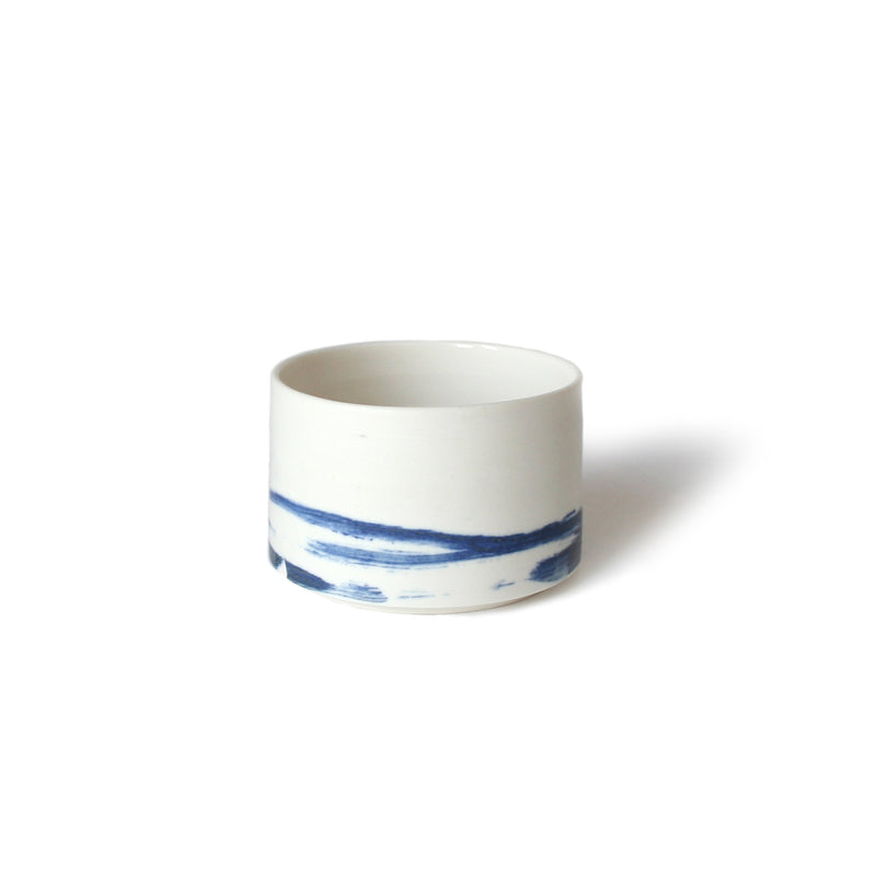 Blue Brush Stroke Ceramic Cup Or Bowl
