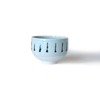 Pale Blue Striped Porcelain Cup Or Bowl