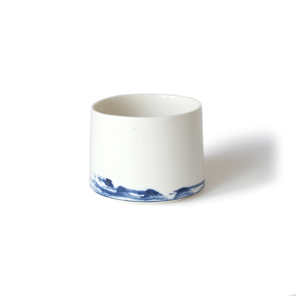 Abstract Blue Patterned Ceramic Cup Or Bowl